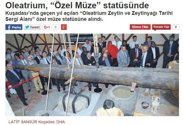 "Oleatrium, ""Özel Müze"" statüsünde"