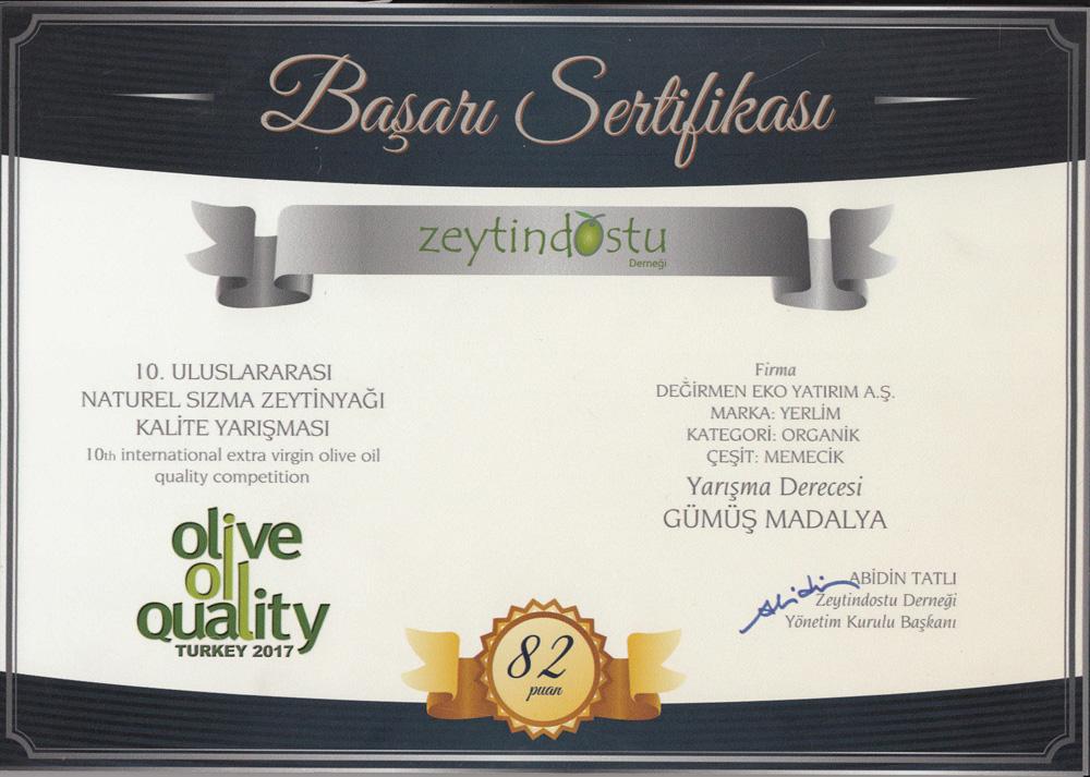 Zeytin Dostu Derneği Başarı Sertifikası